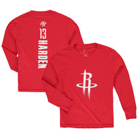 James Harden Houston Rockets Fanatics Branded Youth Stacked Name & Number Long Sleeve T-Shirt - Red