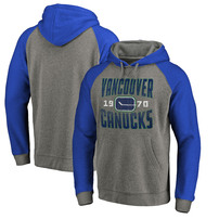 Vancouver Canucks Fanatics Branded Timeless Collection Antique Stack Big & Tall Tri-Blend Raglan Pullover Hoodie - Ash
