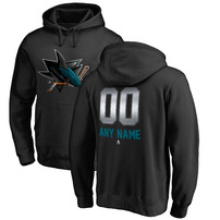 San Jose Sharks Fanatics Branded Any Name & Number Midnight Mascot Pullover Hoodie – Black