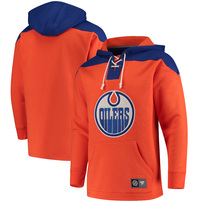 Edmonton Oilers Fanatics Branded Breakaway Lace Up Hoodie – Orange/Royal