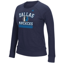 Dallas Mavericks adidas Women's True Stripes French Terry Crew Fleece - Navy