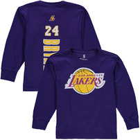 Kobe Bryant Los Angeles Lakers Youth Stacked Name & Number Long Sleeve T-Shirt - Purple
