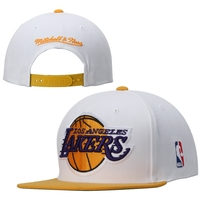 Los Angeles Lakers Mitchell & Ness Current XL Logo 2 Tone Adjustable Hat - White