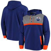 Edmonton Oilers Fanatics Branded True Classics 3-Button Pullover Hoodie – Royal/Heathered Gray