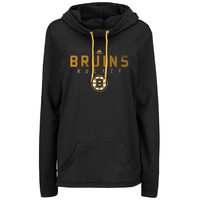 Boston Bruins Majestic Women's Trapezoid Pullover Hoodie - Black