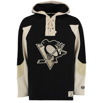 Pittsburgh Penguins Old Time Hockey Lacer Heavyweight Pullover Hoodie - Black