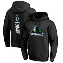 Karl-Anthony Towns Minnesota Timberwolves Stacked Name & Number Pullover Hoodie - Black