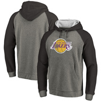 Los Angeles Lakers Fanatics Branded Distressed Logo Tri-Blend Pullover Hoodie - Ash/Black