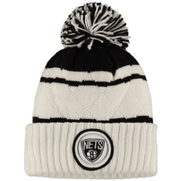 Brooklyn Nets Mitchell & Ness Quilted Stripe High 5 Cuffed Knit Hat with Pom - White/Black