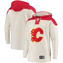 Calgary Flames Fanatics Branded Breakaway Lace Up Hoodie - Cream/Red