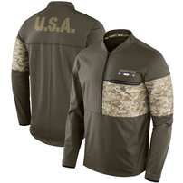 Dallas Cowboys Nike Salute to Service Sideline Hybrid Half-Zip Pullover Jacket - Olive