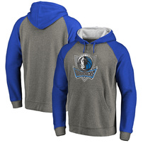 Dallas Mavericks Fanatics Branded Distressed Logo Tri-Blend Big & Tall Pullover Hoodie - Ash/Royal