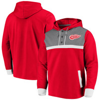 Detroit Red Wings Fanatics Branded True Classics 3-Button Pullover Hoodie – Red/Heathered Gray