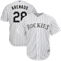 Nolan Arenado Colorado Rockies Majestic Home Official Cool Base Player Jersey - White/Purple