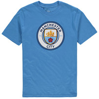 Manchester City Youth Primary Logo T-Shirt - Light Blue