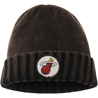 Miami Heat Mitchell & Ness Current Logo Ribbed Knit Hat - Brown