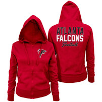 Atlanta Falcons 5th & Ocean by New Era Women's Halfback Full-Zip Hoodie - Red