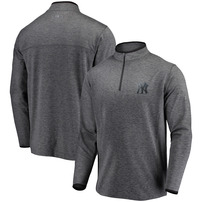 New York Yankees Under Armour Stretch Reflective Logo Performance Quarter-Zip Pullover Jacket – Heathered Charcoal