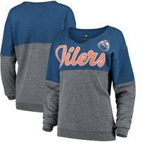 Edmonton Oilers 5th & Ocean by New Era Women's Tri-Blend Fleece Scoop Neck Pullover Sweatshirt – Royal/Silver