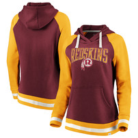 Washington Redskins NFL Pro Line by Fanatics Branded Women's True Classics Retro Stripe Raglan Sleeve Pullover Hoodie - Burgundy/Gold