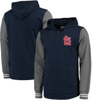St. Louis Cardinals Mitchell & Ness MLB Mid-Season Long Sleeve Hoodie - Heathered Navy