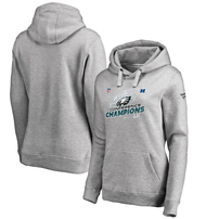 Philadelphia Eagles NFL Pro Line by Fanatics Branded Women's 2017 NFC Champions Trophy Collection Locker Room Pullover Hoodie – Heather Gray