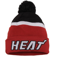 Miami Heat adidas Team Nation Wordmark Cuffed Knit Hat with Pom - Red
