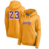 LeBron James Los Angeles Lakers Fanatics Branded Women's Sidesweep Name & Number Pullover Hoodie – Gold