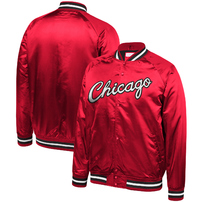 Chicago Bulls Mitchell & Ness Hardwood Classics Throwback Wordmark Satin Jacket - Red
