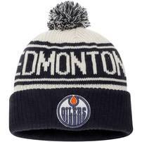 Edmonton Oilers Fanatics Branded True Classic Z Route Cuffed Knit Hat with Pom – White