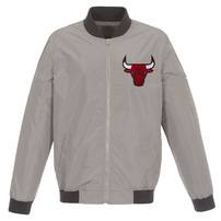 Chicago Bulls JH Design Lightweight Nylon Full-Zip Bomber Jacket – Gray/Charcoal