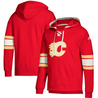 Calgary Flames adidas Jersey Lace-Up Pullover Hoodie – Red