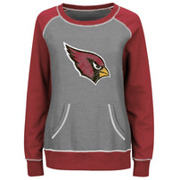 Arizona Cardinals Majestic Women's Overtime Queen Crew Neck Sweatshirt - Gray/Cardinal