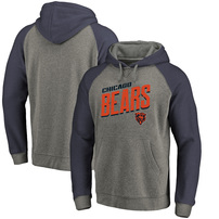 Chicago Bears NFL Pro Line by Fanatics Branded Slant Strike Tri-Blend Raglan Pullover Hoodie – Heathered Gray