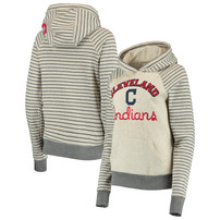Cleveland Indians Soft as a Grape Women's Ultra Plush Striped Sleeve Pullover Hoodie – Cream/Gray