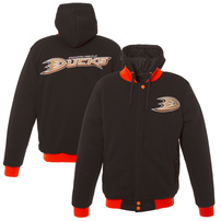 Anaheim Ducks JH Design Reversible Fleece Hooded Jacket - Black/Teal