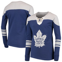 Toronto Maple Leafs Youth Perennial Hockey Lace-Up Crew Sweatshirt – Blue/Gray