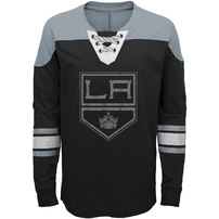 Los Angeles Kings Youth Perennial Hockey Lace-Up Crew Sweatshirt – Black/Gray