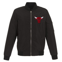 Chicago Bulls JH Design Lightweight Nylon Full-Zip Bomber Jacket – Black