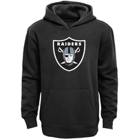 Oakland Raiders Youth Primary Logo Team Color Fleece Pullover Hoodie - Black