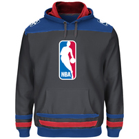 NBA Logo Majestic Double Minor Pullover Hoodie - Charcoal/Red
