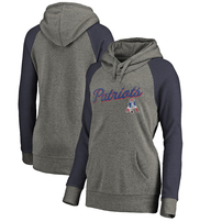 New England Patriots NFL Pro Line by Fanatics Branded Women's Timeless Collection Rising Script Plus Size Tri-Blend Hoodie - Ash