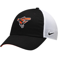Baltimore Orioles Nike Heritage 86 Team Trucker Adjustable Hat - Black/White