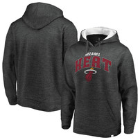 Miami Heat Fanatics Branded Big & Tall Steady Fleece Pullover Hoodie – Gray/White