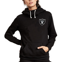 Oakland Raiders Junk Food Women's Throwback Sunday Funnel Neck Pullover Hoodie – Black