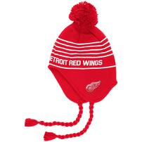 Detroit Red Wings adidas Stripe Tassel Pom Knit Hat – Red