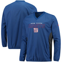 New York Giants NFL Pro Line by Fanatics Branded Iconic Woven V-Neck Crew Pullover Jacket - Royal