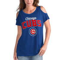 Chicago Cubs G-III 4Her by Carl Banks Women's Clear the Bases Cold Shoulder T-Shirt - Royal