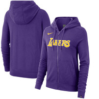 Los Angeles Lakers Nike Women's Essential Wordmark Full-Zip Hoodie – Purple
