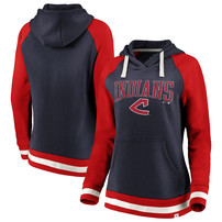 Cleveland Indians Fanatics Branded Women's True Classics Stripe Pullover Hoodie - Navy